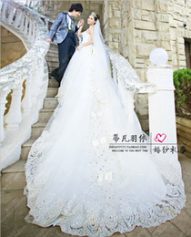 Wholesale The new fashion wedding dress Cathedral with chest brought nail bead long wedding dresses