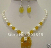 Bracelet,Earrings & Necklace   Fancy jade Elephant pendant necklace earrings jewellery sets