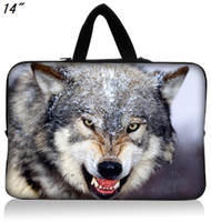 "Cheap Cool 14""-14.4"" laptop waterproof sleeve case handle bag-Wolf king printed on both sides-725h-free shipping wholesale drop shop"