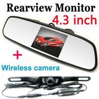 Cheap 4.3 inch Reverse Mirror Monitor Wireless IR Night Car Rear View Back UP Parking Reversing Camera Kit