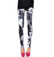 Wholesale 2013 New Fashion Leggings Black White Tights Legwear Marilyn Monroe Pattern Pants Graffiti Tight