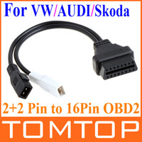 Car Diagnostic Cables and Connectors For Audi other VW AUDI Skoda 2 + 2 Pin male to 16Pin OBD 2 OBD2 Female Adapter Connector Cable free shipping K651