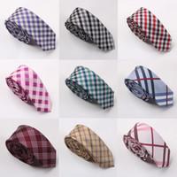 Wholesale women men s cotton neck tie classical plaid skinny necktie school tie cm TOP quality