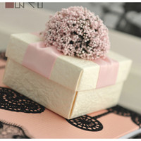 Wholesale European Flowers Pattern Style Wedding Candy Box Case With Silk Ribbon Wraps Wedding Party Gift
