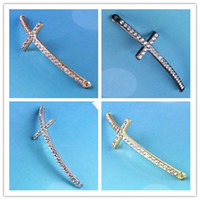bracelet connectors - Mixed color Crystal Rhinestones SideWays Cross Connector Beads making bracelet Jewelry findings