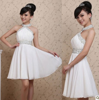 Wholesale New Cheap Elegant Chiffon Knee Length Halter Style Bridesmaid Dresses Wedding Party Dresses