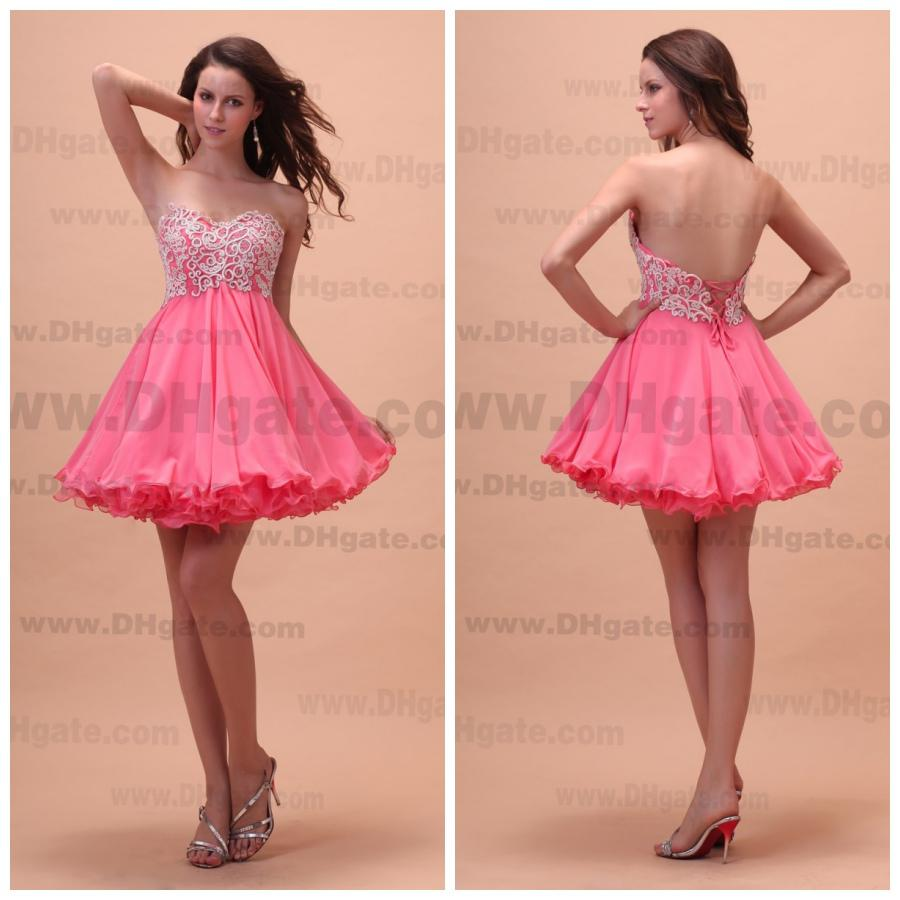 Wholesale Homecoming Dresses 2015 Lace Floral Applique Sweetheart ...