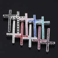 Wholesale 48x mm mixed color Crystal Rhinestones Curved SideWays Cross Connector for making Bracelet Charm Beads Jewelry findings