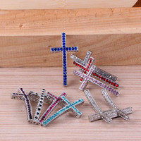 Wholesale Antique silver Crystal Rhinestones SideWays Cross Connector Beads making bracelet Jewelry findings