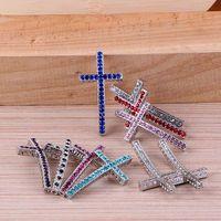 Wholesale Antique silver Crystal Rhinestones SideWays Cross Connector Beads making bracelet Jewelry findings