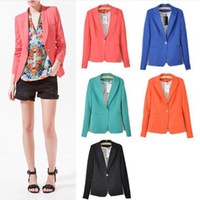 Women Middle_Length Polyester Newest Fashion Candy Color Basic Slim Foldable Casual Suit Jacket Blazer XS S M L