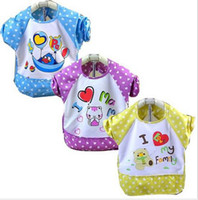 Wholesale EMS Free Child Feeding Waterproof Smock Bibs Cover Long Sleeve Art Smock Bib Apron CM Pc