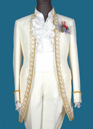 Wholesale Groom Tuxedos Best man Suit With Golden embroidery Groom Men Suits Bridegroom Jacket Pants Tie GR0