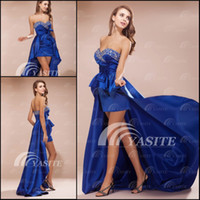 Wholesale New Arrivals Sweetheart Hi Lo Short Royal Blue Bowknot Beads Taffeta Party Homecoming Prom Dress