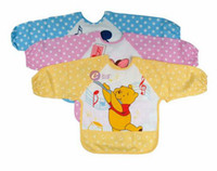 Wholesale EMS Free Cute Children s Baby Todder Waterproof Long Sleeve Art Smock Bib Apron Bibs T Pc