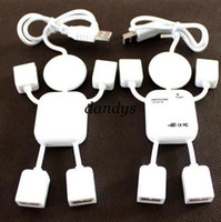 Wholesale mini White Human Shape Laptop PC Port USB Hub High Speed Mbps