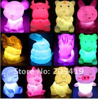 Wholesale twelve Chinese zodiac signs Changing colors LED Candle Night Light Color f