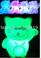 Wholesale Maneki Neko Fortune cat mini Changing colors LED Candle Night Light Multi Color seve
