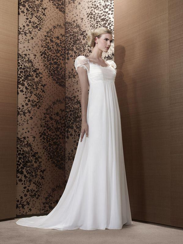 Short Sleeve Lace Chiffon Empire Waist Bridal Wedding