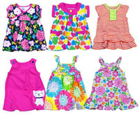 Wholesale EMS Cotton Cart baby girls dress kids skirt flora dresses children summer dress Skirts For T