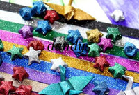 Wholesale pc bag shiny bling color option lucky star Origami folding strip paper DIY gift decor cr