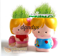 Wholesale retail Gift girl boy lover Hair man Plant Bonsai Grass Doll Office Mini Plant Fantastic Ho