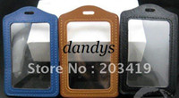 Plastic badge cases - multi Vertical color PU leather ID Badge Holders PVC clear name card credit case certificate