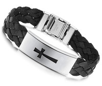 Wholesale hot sale Men bracelet stainless steel jewelry Cross leather bracelet Charm bracelet cheap jewelry hot sale