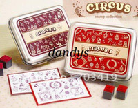 Wholesale retail Wooden circus cartoon vintage Antique Stamps seal diary carved gift craft toy DIY f