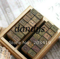 China (Mainland) alphabet upper case - Wooden vintage block Creative letters Antique Alphabet Stamps upper lower case seal diary