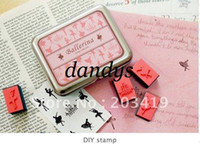 antique wooden angels - retail Wooden ballerina angel gril cartoon vintage Antique Stamps seal diary carved gift stamp sets