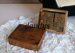 Wholesale retail Wooden vintage block Antique seal numbers weather week Stamps Handwriting carved gift