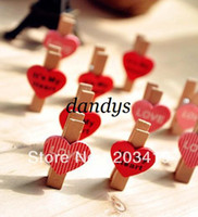 wooden hearts - lovely heart love sweet Wooden Note Clips holder pegs Paper Photo Bookmark memo name card