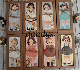 Wholesale retail pc Bookmarks greeting card paper antique vintage gift craft nice girl Loli mul