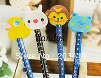 animal eraser tops - retail Cartoon Wooden Pencil pen with cute animal eraser on the top promotional gift kids