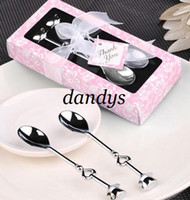 Wholesale Heart Shaped Love coffee tea measuring Spoon Wedding lover Favors gift stainless steel din