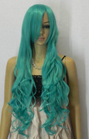 Wholesale Pretty style Long blue curly Cosplay women Lady s Hair full Wig Wigs