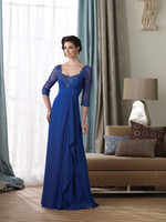 2013 Royal Blue Mother of the Bride Dresses Scoop Elbow Slee...