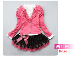 Wholesale 2013 New Baby Girl Piece Suits T shirt Coat Skirt Kids Princess Tutu Dress Children Lapel Sets