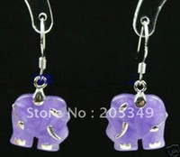 Dangle & Chandelier   Pair 18K GP Purple Jade Elephant Earring