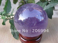 Wholesale Natural amethyst rock quartz crystal ball mm stand crystal handicraft