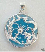 Wholesale real jade jewelry Charming blue dragon pendant necklace free chain pc