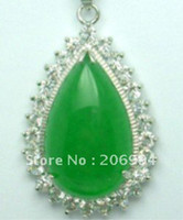 Wholesale real jade jewelry Fine green jade Big Drip pendant necklace pc free chain