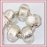 Wholesale STERLING SILVER MURONA GLASS WHITE SILVER FOIL CHARMS BEADS FIT FOR CHAMILIA BRACELET