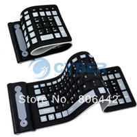 Wholesale Flexible G Foldable Mini Wireless Silicone Keyboard PC Tablet Laptop Computer Roll Up Black Free