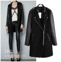 Wholesale Women s PU leather Sleeve trench coats Windcoat Winter Coat Overcoat outwear
