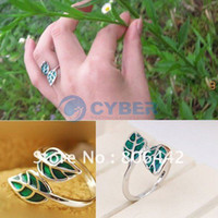 Wholesale New Fahion Korean Exquisite Silvery Green Leaves Trail Rings