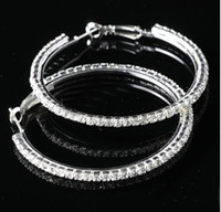 Wholesale Big Circle lady s Basketball Wives Hoop Earrings With Crystal Rhinestone Dangle Earring mm pair