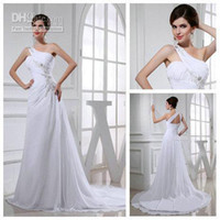 Model Pictures Halter Chiffon One Shoulder White Model Real Picture Cheap Wedding Gowns 2013 Chiffon Wedding Dresses