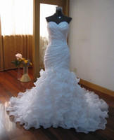 Wholesale Strapless Mermaid Designer Wedding Dress Eresma Organza Ruffles Beaded Lace Applique Chapel Train